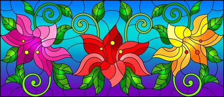 llustration in stained glass style with flowers, leaves and buds of bright lilies on a sky background