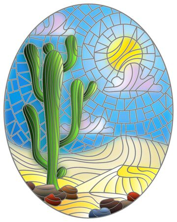 The illustration in stained glass style painting with desert landscape, cactus in a lbackground of dunes, sky and sun, oval image