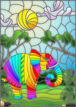 Illustration in stained glass style with cute rainbow elephant on the background of green trees of cloudy sky and sun
