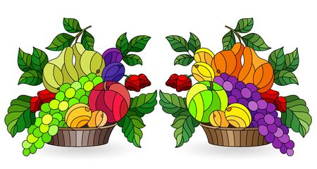 A set of stained glass elements with abstract fruit still lifes, bright fruits and berries isolated on a white background Vectores