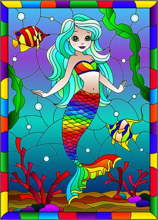 Illustration in stained glass style with cute cartoon mermaid in the background of the seabed and fish, in bright frame