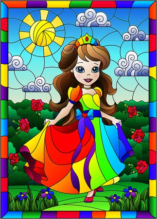 Illustration in stained glass style with a cute Princess on a background of flowers and Sunny sky, in bright frame