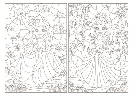 Set of contour illustrations of stained glass with princesses on a background of flowers, dark contours on a white background Ilustração
