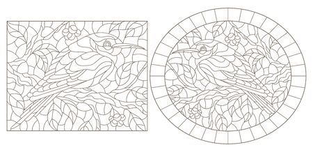 Set of contour illustrations of stained-glass windows with birds against branches of a tree and leaves