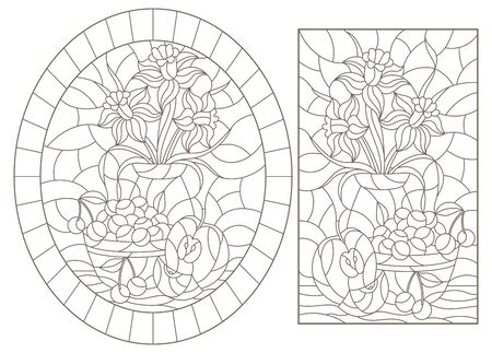 Set of contour illustrations of stained glass Windows with still lifes, flowers and fruits, dark outlines on a white background