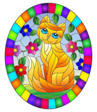 Illustration in stained glass style with a   red  cute cat on a background of meadows, bright flowers and sky, oval image in bright frame