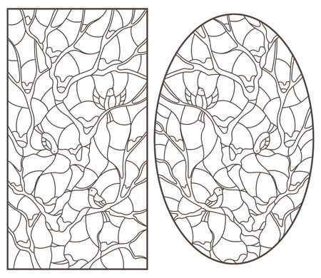 A set of contour illustrations of stained glass Windows with birds on tree branches, dark outlines on a white background