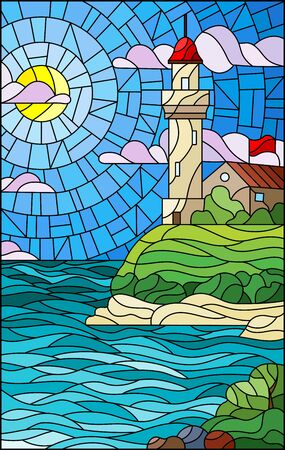 Illustration in stained glass style with seascape, lighthouse on a background of sea and Sunny sky Vetores