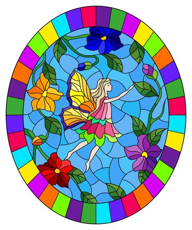 Illustration in stained glass style with a winged fairy in the sky,bright  flowers and greenery,oval image in bright frame 向量圖像