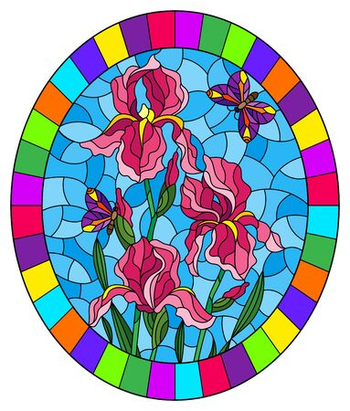 Illustration in stained glass style with a bouquet of pink irises and a purple butterflies on a blue background 向量圖像