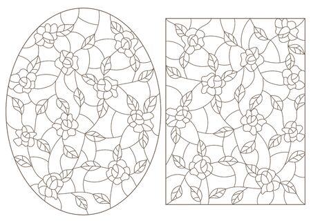 Set contour illustrations in the stained glass style, abstract flowers of roses , dark outline on a white background