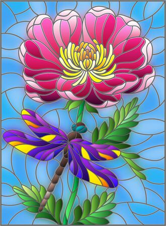 Stained glass illustration with a beautiful pink flower and a bright dragonfly against a blue sky