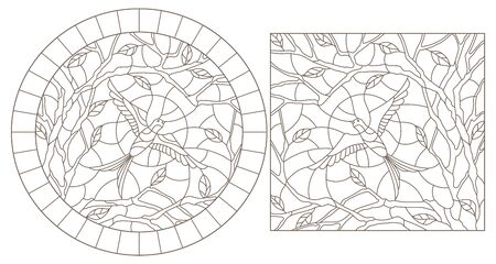 Set of contour illustrations of stained glass Windows with swallows against the sky and trees, dark outlines on a white background