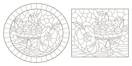 Set of contour illustrations of stained glass Windows with still lifes, berryes and fruits, dark outlines on a white background
