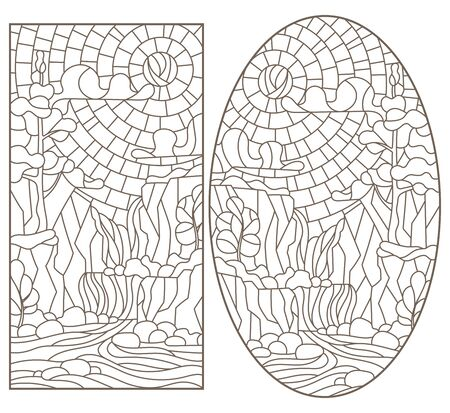Set contour illustrations of stained glass in the stained glass style with scenery of wild nature, a mountain river and waterfall, a dark outline on a white background Vectores