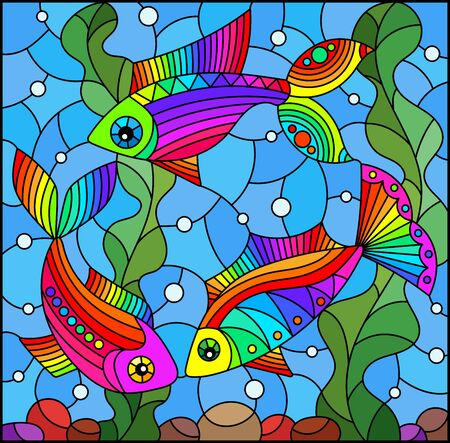 Illustration in stained glass style with bright rainbow fish on the background of water, bottom and algae