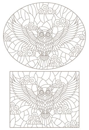 Set contour illustration of a flying owl in the sky, dark outlines on a light background