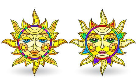 A set of stained-glass suns with faces on a white background isolates  イラスト・ベクター素材