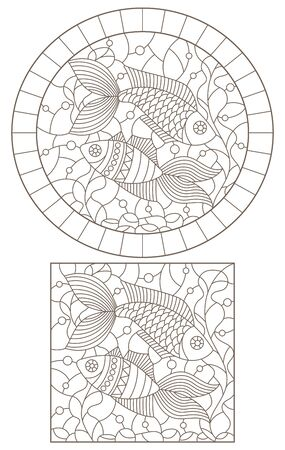 A set of contour illustrations with fish on a background of water and algae, dark outlines on a white background