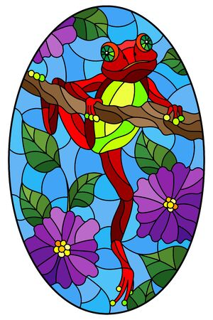 Illustration in stained glass style with bright red frog on plant branches background with flowers and leaves  on sky background, oval image