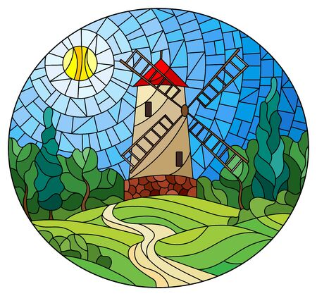 The image in the stained glass style landscape with a  windmill on a background of sky and sun, oval image