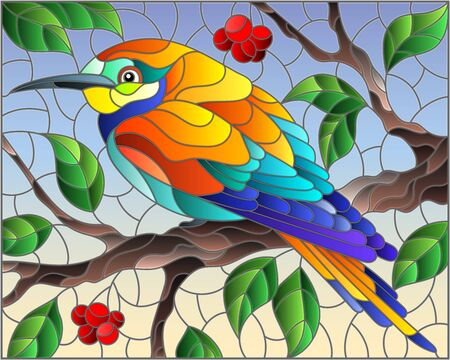 Illustration in the style of stained glass with a beautiful bright bird on a background of branch of tree with berryes and sky