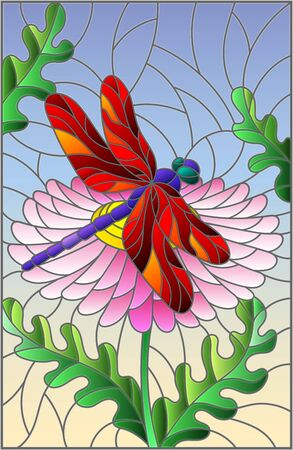 Stained glass illustration with a beautiful pink flower and a bright red dragonfly against a blue sky