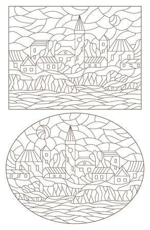 Set contour illustrations of the stained glass Windows with city scenery, dark contours on a white background