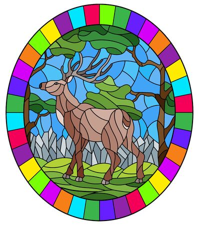 Illustration in stained glass style with wild deer on the background of trees, mountains and sky, oval image in bright frame