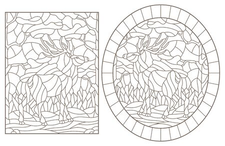 Set of contour illustrations of stained glass with deers on forest landscape background, dark outlines on white background