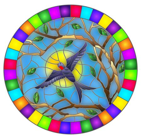 Illustration in stained glass style with a swallow bird on the background of tree branches and the sky with the sun, oval image in a bright frame  イラスト・ベクター素材