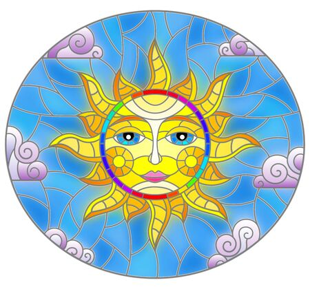 Illustration in stained glass style with fabulous sun with the face on the background of sky and clouds, oval image Illustration