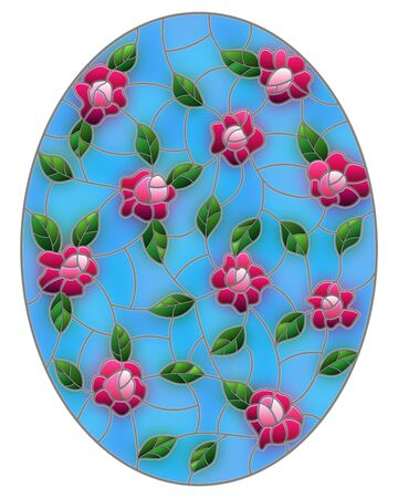 Illustration in the style of stained glass with intertwined pink roses and leaves on a blue background, oval image
