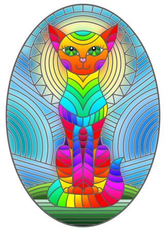 Illustration in stained glass style with abstract geometric cat and the sun on an abstract blue background, oval image