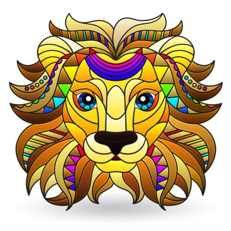 Illustration in stained glass style with a lion's head, a bright portrait of an animal isolated on a white background