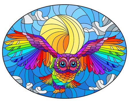Illustration in stained glass style with abstract rainbow owl flying on sky background with sun and clouds , oval image