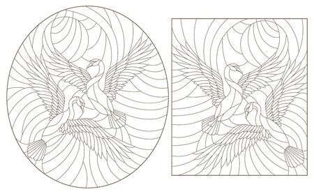A set of contour illustrations of stained glass Windows with flying swans against the sky, dark contours on a white background