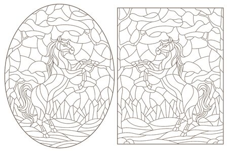 Set of contour illustrations of stained glass Windows with wild horses on a background of forest landscape, dark contours on a white background
