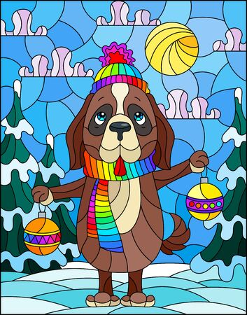 Illustration in stained glass style on the theme of winter holidays, cute cartoon dog on the background of a winter landscape