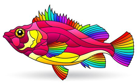 Illustration in stained glass style with abstract bright fish isolated on a white background