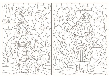 Set of contour illustrations of stained glass Windows on the theme of winter holidays, funny cartoon dogs on the background of winter landscapes, dark outlines on a white background Ilustracje wektorowe