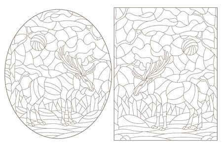 Set of contour illustrations of stained glass Windows with wild mooses on a background of forest landscape, dark contours on a white background