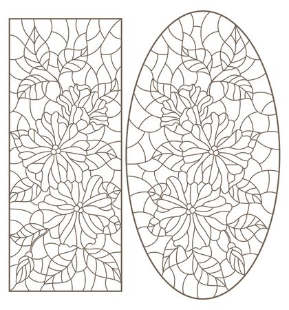 Set of contour illustrations in stained-glass style with flowers, vertical images, dark contours on a white background