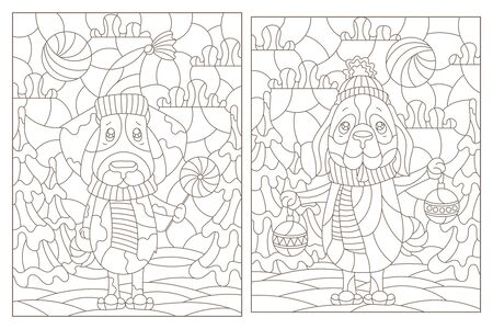Set of contour illustrations of stained glass Windows on the theme of winter holidays, funny cartoon dogs on the background of winter landscapes, dark outlines on a white background