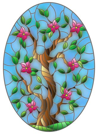 Illustration in stained glass style with a flowering tree on blue sky background, oval image