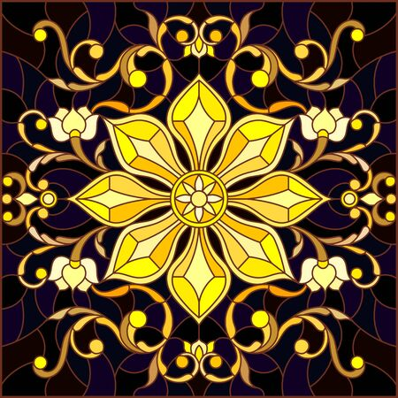 Illustration in stained glass style with floral ornament ,imitation gold on dark background with swirls and floral motif, square image