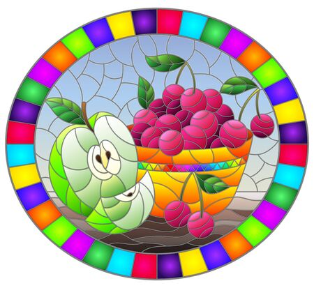 Illustration in stained glass style with still life , apple and a cherry berryes  in a bowl on a table on a blue background , oval image in bright frame