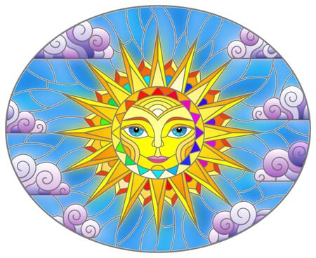 Illustration in stained glass style with fabulous sun with the face on the background of sky and clouds, oval image