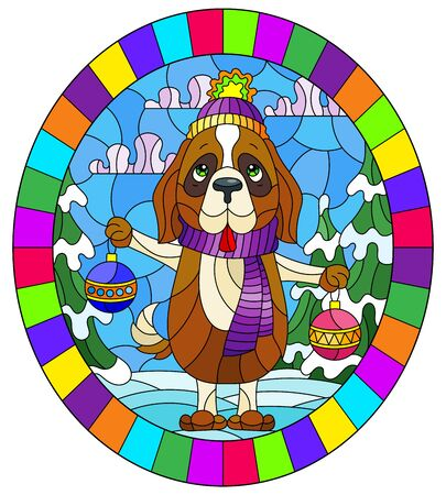 Illustration in stained glass style on the theme of winter holidays, cute cartoon dog on the background of a winter landscape, oval image in a bright frame