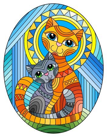 Illustration in stained glass style with a bright  cat and kitten on the background of an abstract geometric sky and sun, oval image Ilustrace
